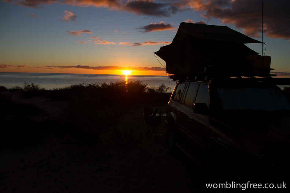 Remote beach camping in Francois Peron NP.